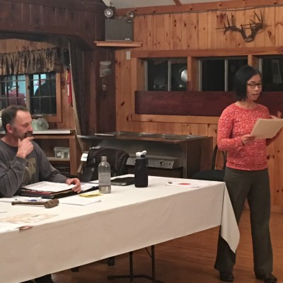 Keiko Sono introducing Yankeetown Pond Project to members of Wittenberg Sportsmen's Club at their monthly meeting